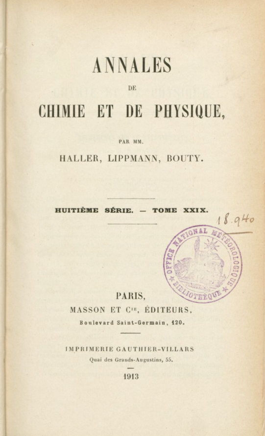 Annals of Chemistry and of Physics - 1913